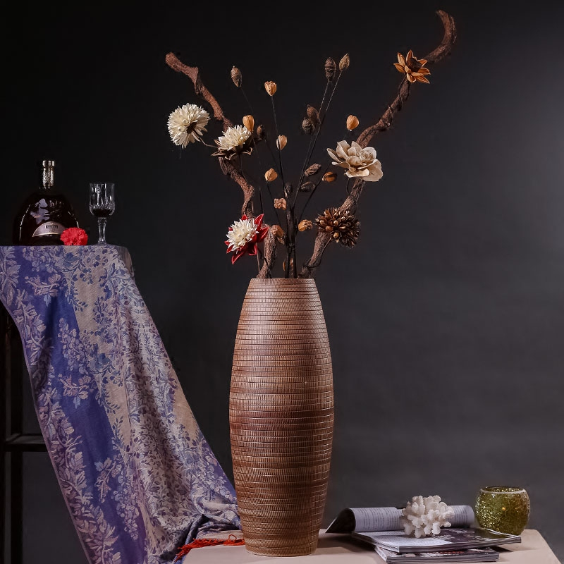 Buy Creative chinese style floor vase large vase of dried flowers flower decorations living room floor flower holder ceramic ornaments hotel clubs in Cheap ... & Buy Creative chinese style floor vase large vase of dried flowers ...