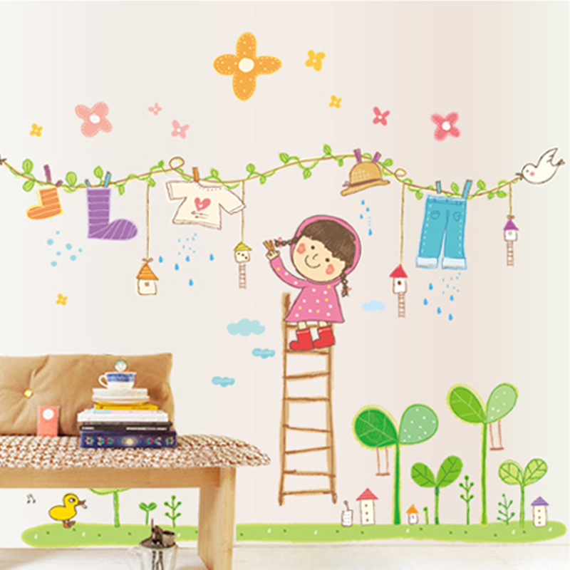 Buy Creative Removable Laundry Girl Wallpaper Adhesive Sticker