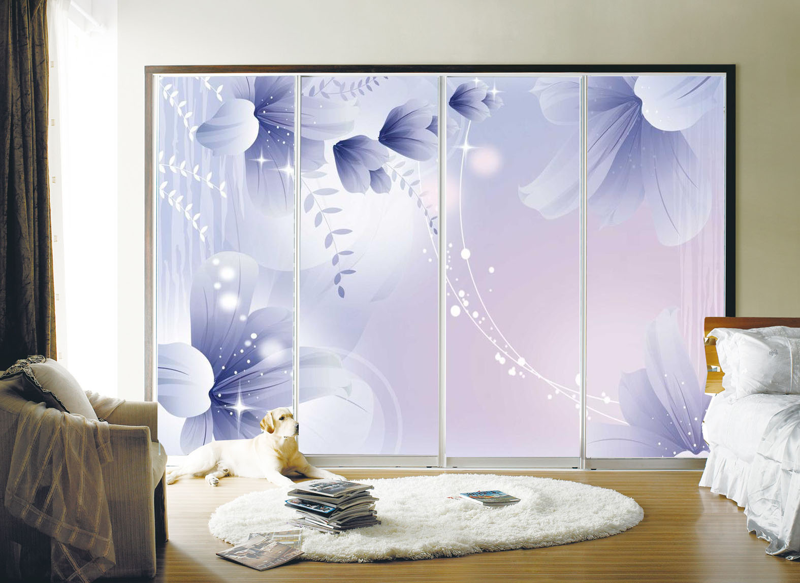 Buy Custom Glass Film Frosted Glass Sliding Door Wardrobe Sliding