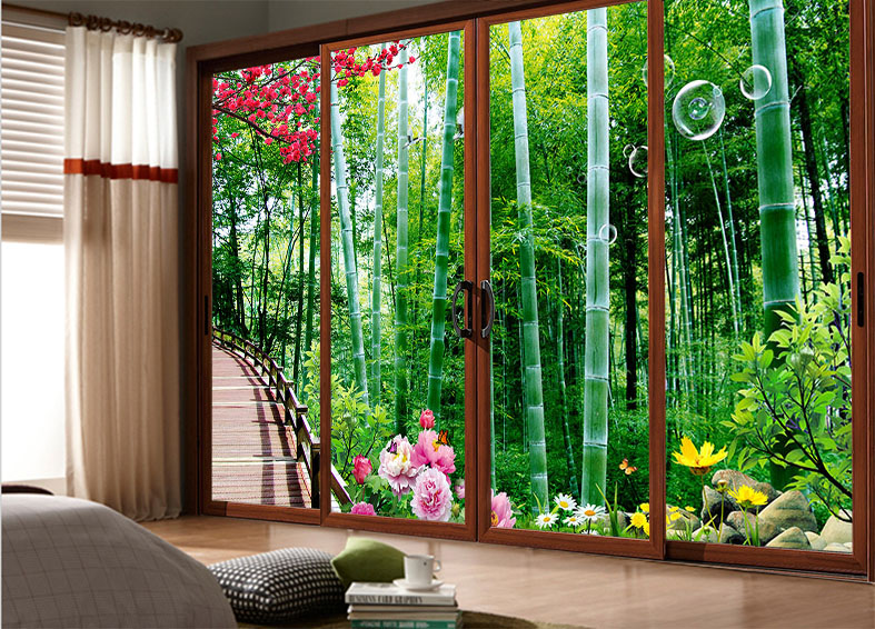 Custom Sliding Door Mirror Cover Sticker Stickers Tile Affixed To Glass Closet Natural Bamboo In On Alibaba