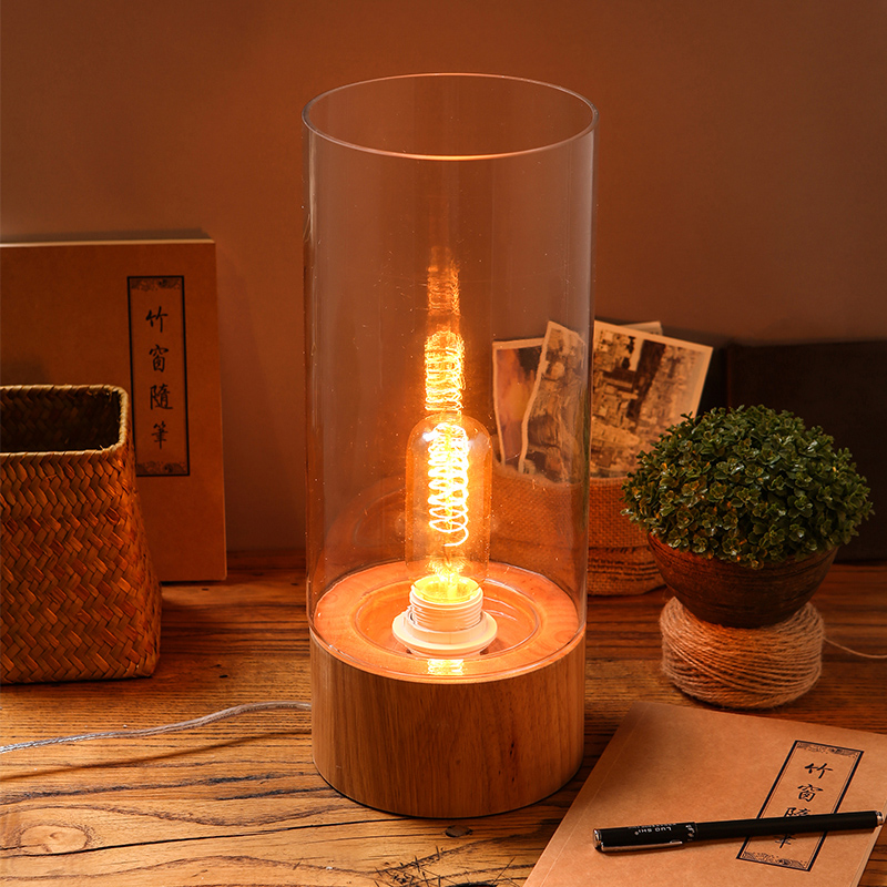 Buy Edison American Retro Glass Dining Table Solid Wood Table Lamp