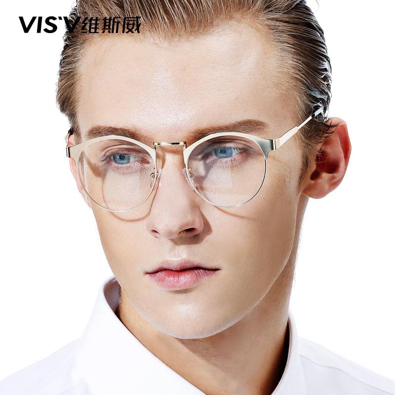 90c8c057a23 Buy European and american retro glasses frame tide men  39 s fashion art  metal full frame memory ultralight round glasses frame female models in  Cheap Price ...