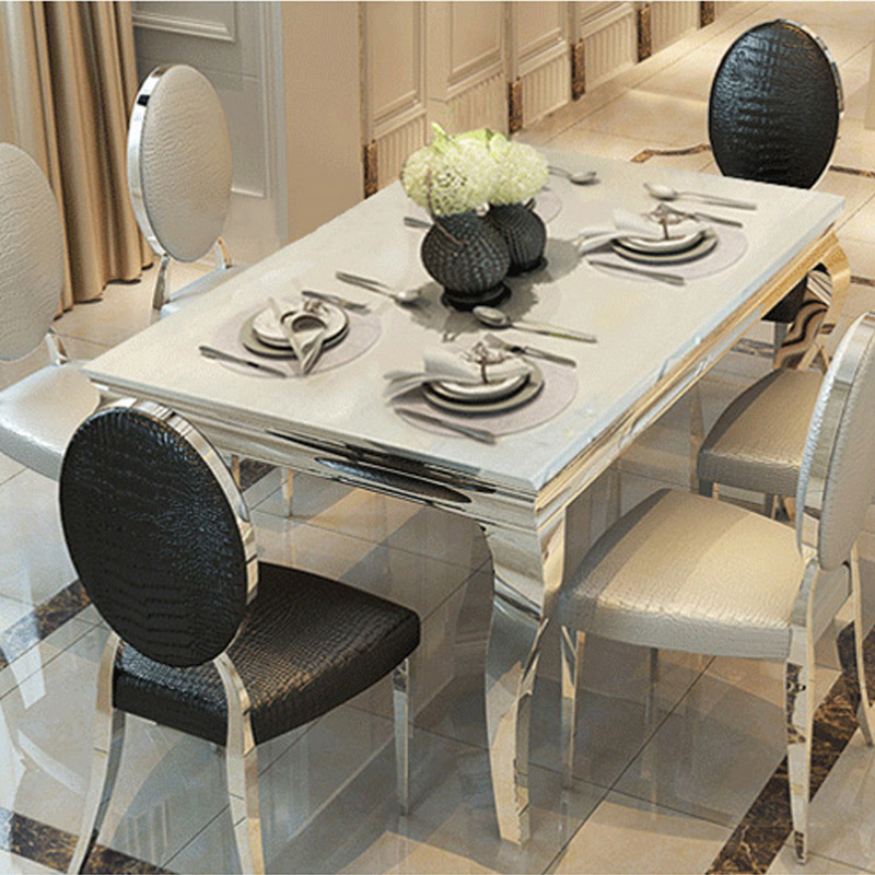 European Marble Dining Table Dinette Combination Of 6 Stainless Steel Modern Minimalist Small Apartment Rectangular In Price On