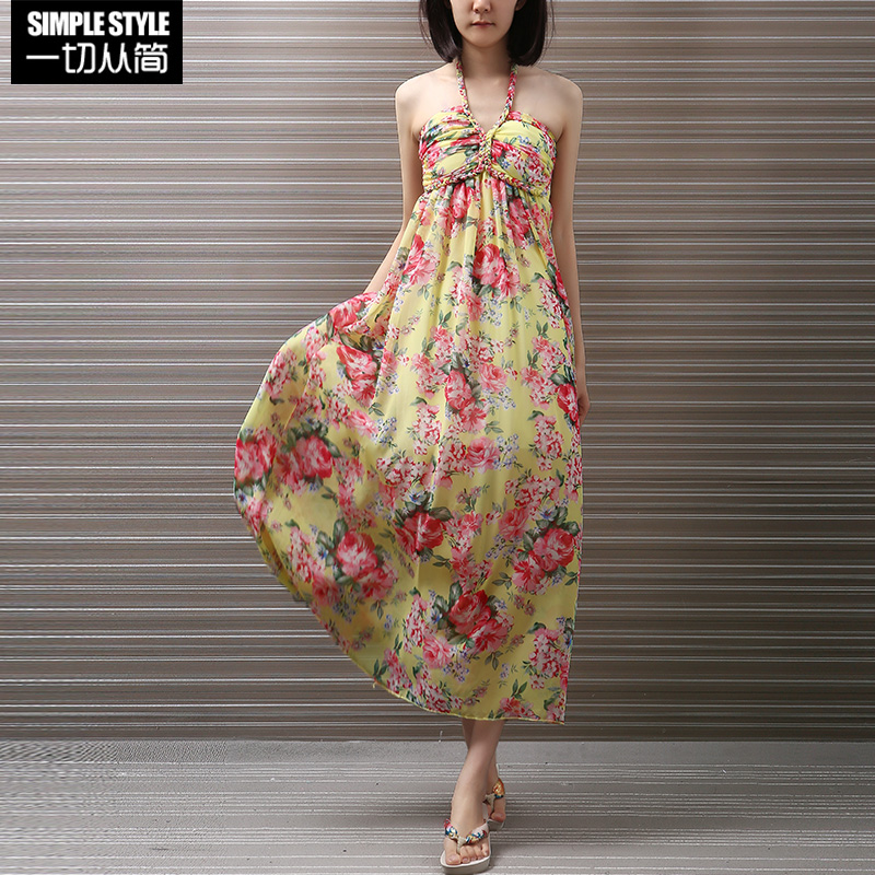 4d15a9a866 Buy Floral chiffon dress female summer korean halter dress put on a large  bohemian seaside resort beach dress in Cheap Price on m.alibaba.com
