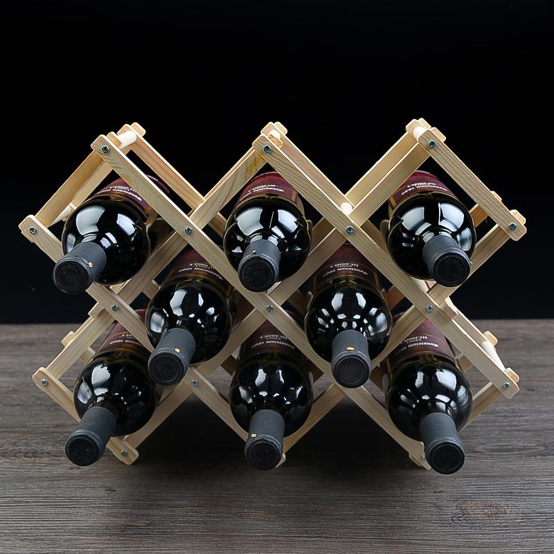 Wooden 10 Bottle Folding Wine Rack Wine Rack