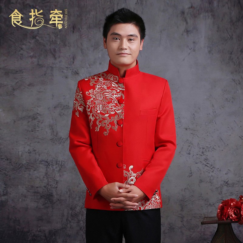 Forefinger pull men s red tunic with chinese style embroidered costumes  men s clothing xiu chinese dress and groom d5629866b