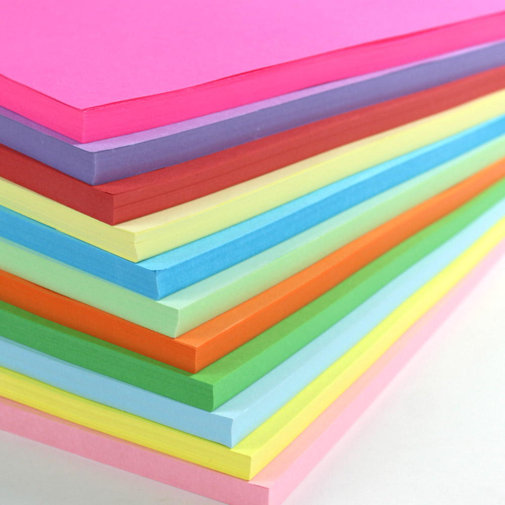 Free Shipping A4 Color Paper Can Print Black And Yellow Blue Green Pink Purple Orange White Copy For Children Handmade