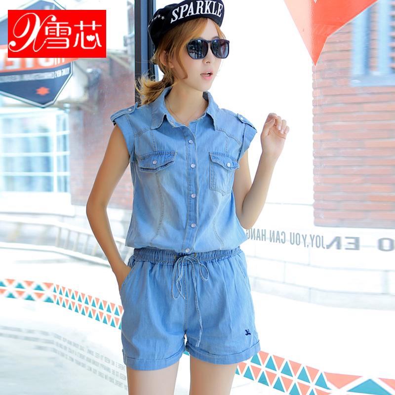 2e709c4297d Buy Girls 2016 summer korean fashion slim was thin casual denim shorts  jumpsuit piece pants jumpsuit shorts tide in Cheap Price on m.alibaba.com