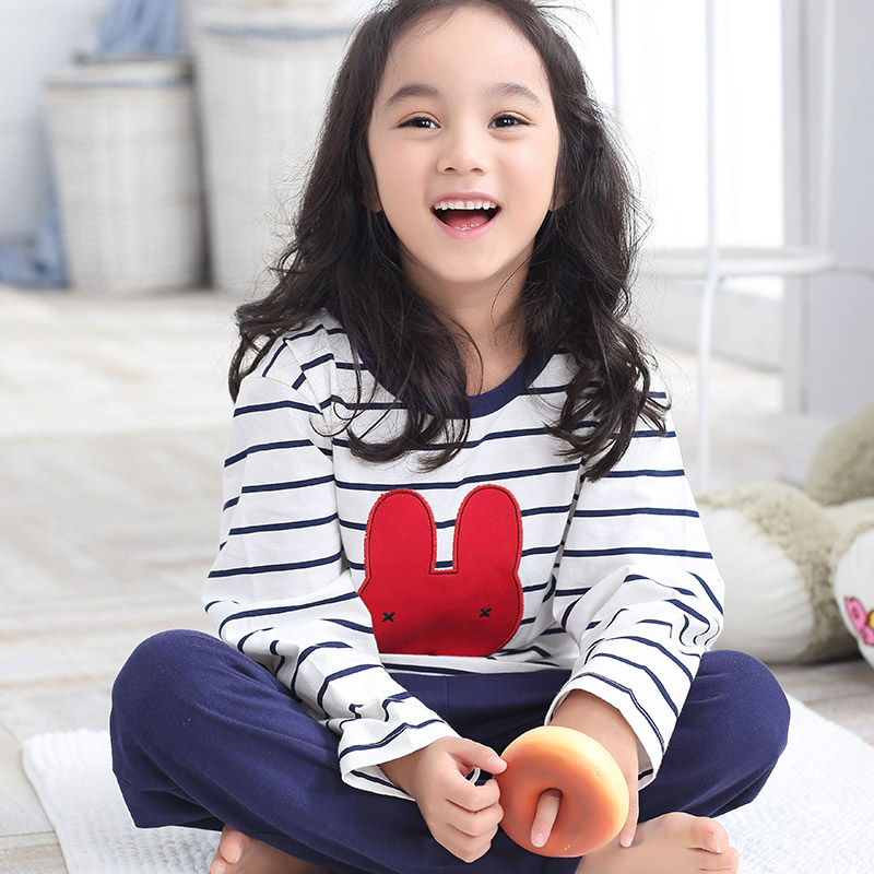 Girls spring and autumn children s pajamas cotton pajamas air conditioning  service sleeved suit big virgin girls tracksuit kids cb52e0050