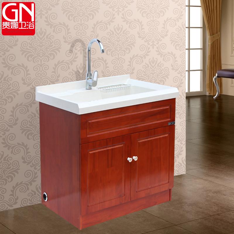 Guina Oak Wood Balcony Wash Closet Floor Bathroom Cabinet Sink With Washboard Laundry Tub In Price On M Alibaba