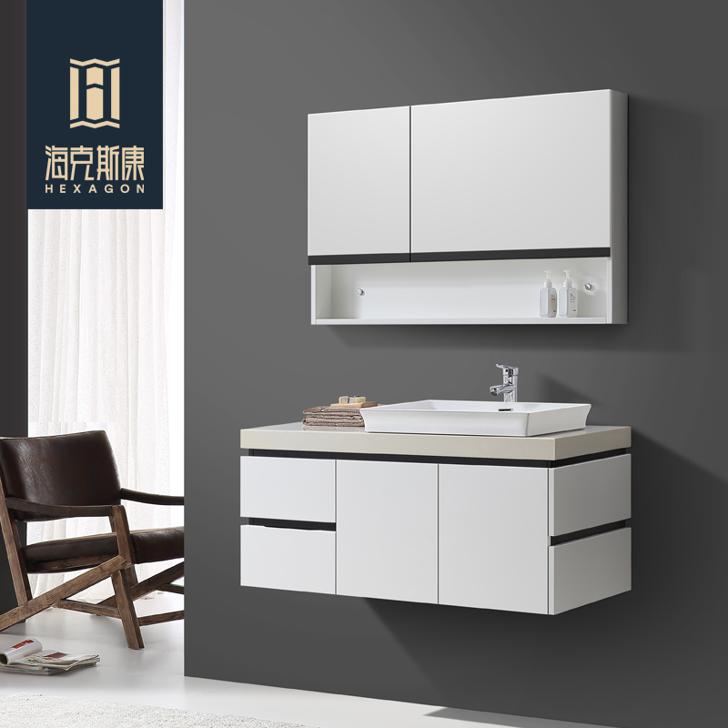 Hexagon Modern Minimalist Bathroom Cabinet Combination Of Solid Wood  Bathroom Wall Cabinet Washbasin Cabinet Bathroom Cabinet With Mirror Cabinet Part 46