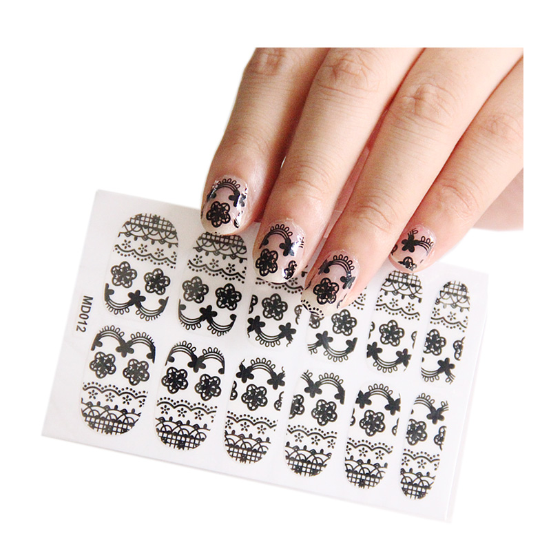 Buy Japanese thin nail stickers all posted hollow black lace ...