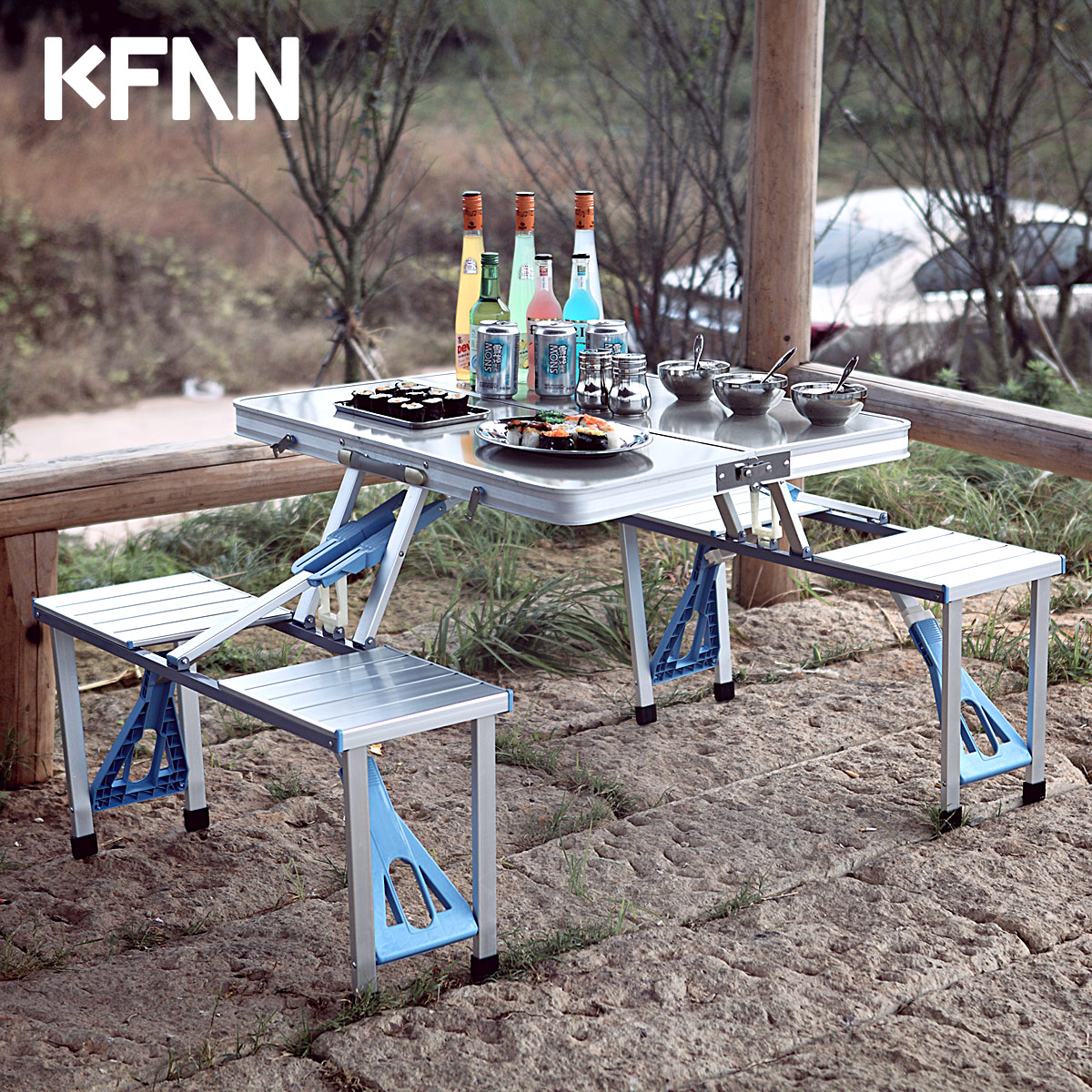 Buy Kfan outdoor folding tables and chairs set kit all aluminum portable  tables exhibition industry car contained portable outdoor dining table in  Cheap ... - Buy Kfan Outdoor Folding Tables And Chairs Set Kit All Aluminum