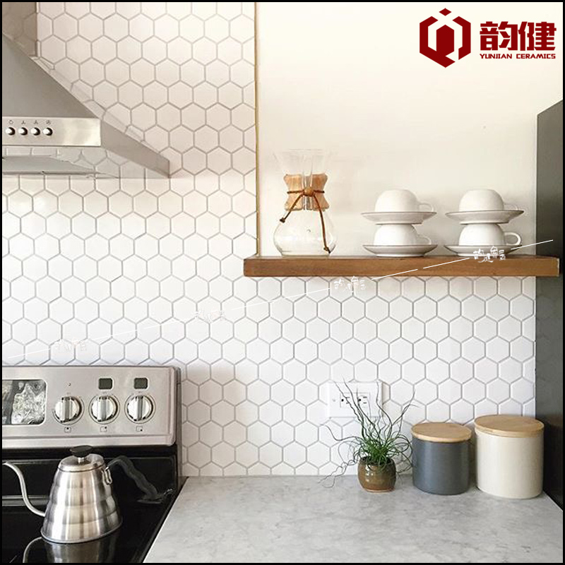 [Kin] Rhyme Large Black And White Hexagonal Ceramic Mosaic Tile Kitchen  Floor Tiles Ikea Scandinavian Minimalist