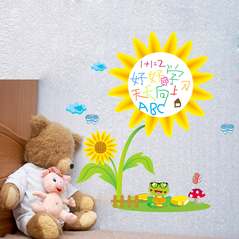 Kindergarten Class School Classroom Wall Stickers Sticker Graffiti Whiteboard Erasable Decorative Flowers Sunflower