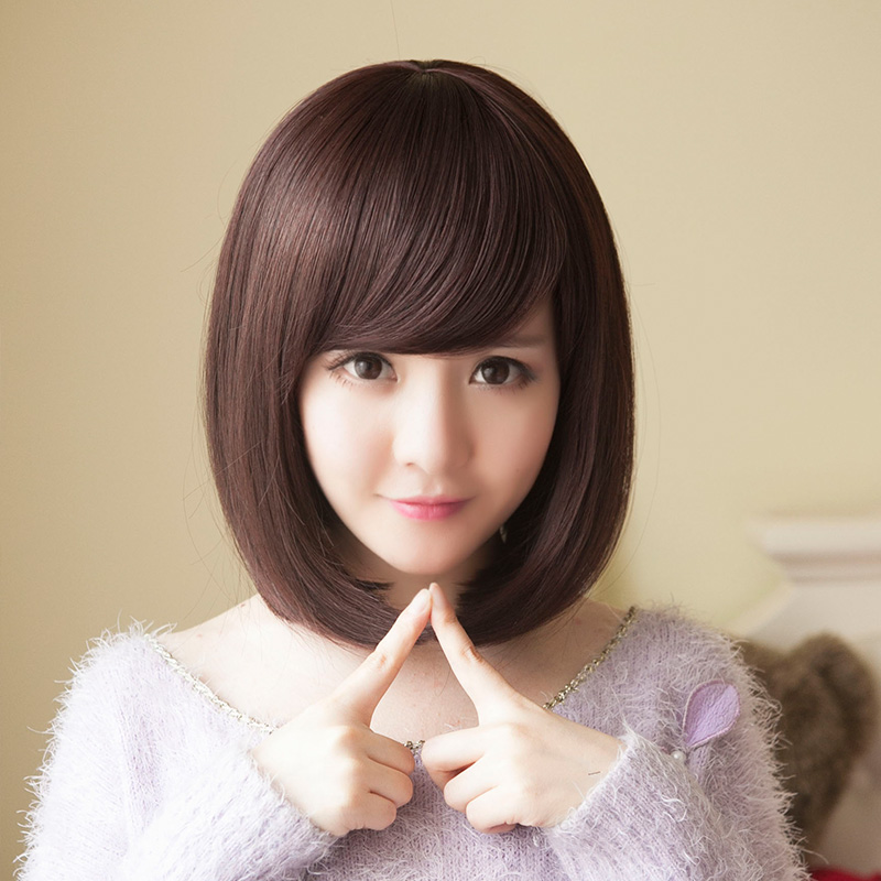 Buy Korean Girls With Short Hair Wig Women Oblique Bangs Pear Head