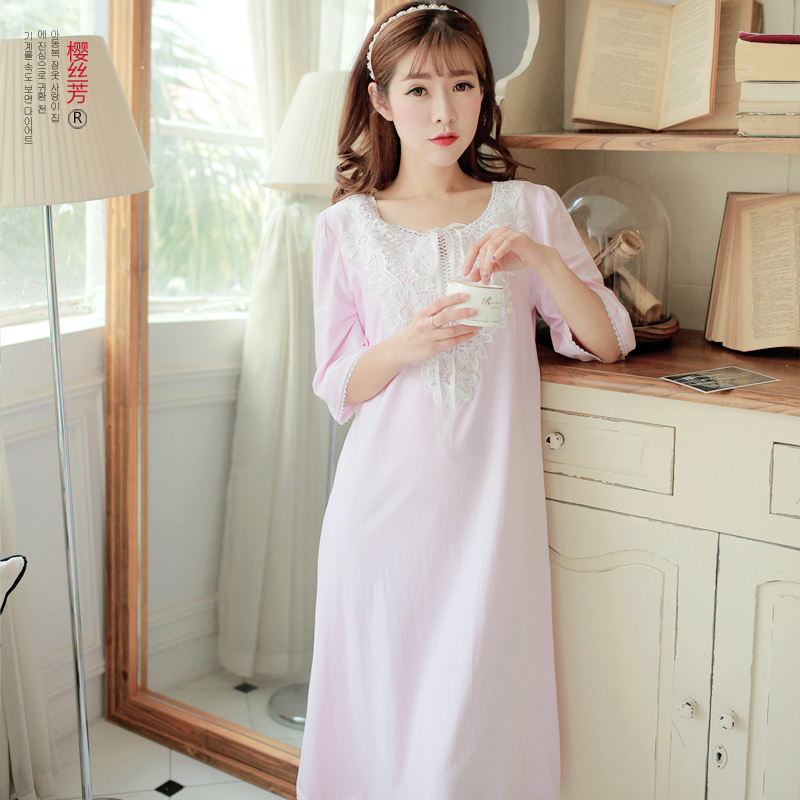 57c2b20592 Buy Korean version of the spring and summer cotton nightgown female sweet princess  palace sleeve lace dress pajamas tracksuit in Cheap Price on m.alibaba. ...