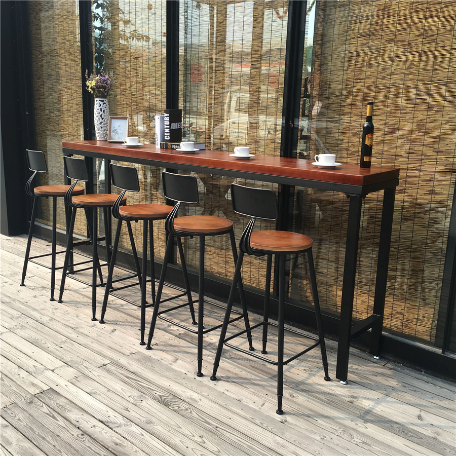 Loft American Bar Cafe Tables And Chairs Wood Table Tall Dining Combination Of Home Casual Long In