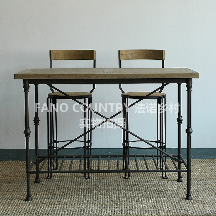 Loft American Iron Wood Bar Tables And Chairs