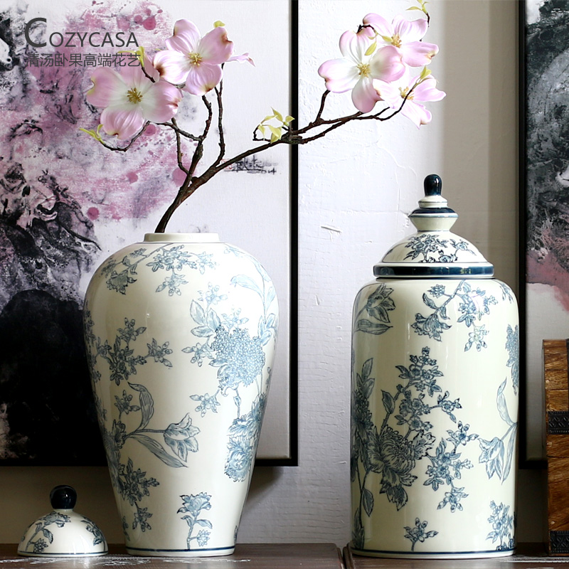 Buy lying fruit soup new chinese flower pattern jingdezhen ceramic buy lying fruit soup new chinese flower pattern jingdezhen ceramic antique blue and white porcelain vase floral living room retro ornaments in cheap price mightylinksfo
