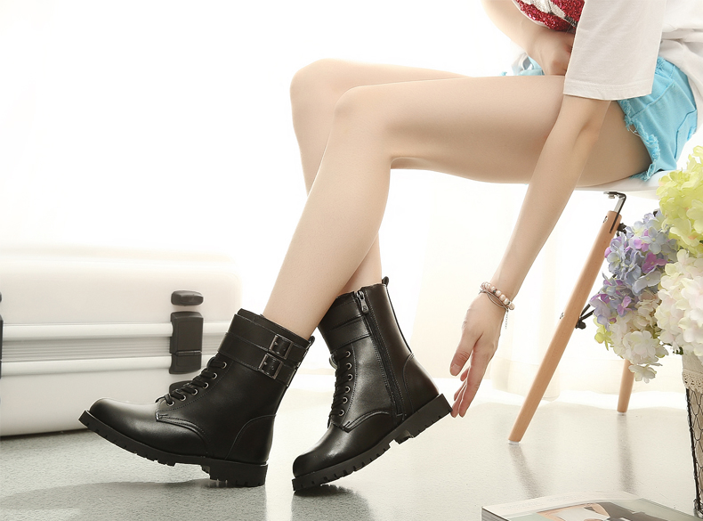 0b702eb56214 Martin boots female british style leather boots flat boots with flat boots  in tube tide in spring and autumn single boots knight boots motorcycle shoes