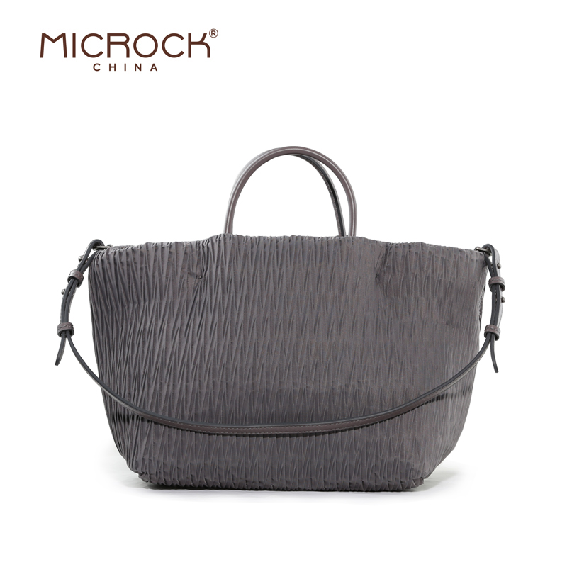 Microck Parachute Cloth Folding Lightweight Waterproof Nylon Canvas Fashion Handbags Leather Handbag Shoulder Bag