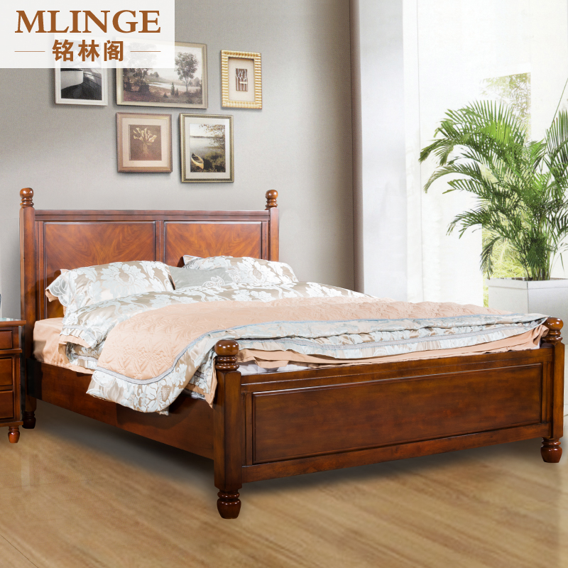 Ming Lin Kok Chinese Marriage Bed American Country Wood Double Bed 1.5 M  1.8 M Oak Bed Bed Bedroom Furniture
