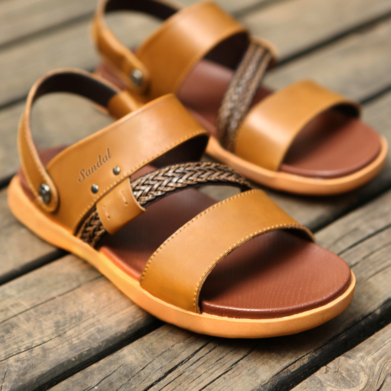 a460605c7dc Buy Mr. a korean version of casual leather men  39 s sandals summer sandals  men  39 s sandals men leather sandals sandals and slippers dual in Cheap  Price ...