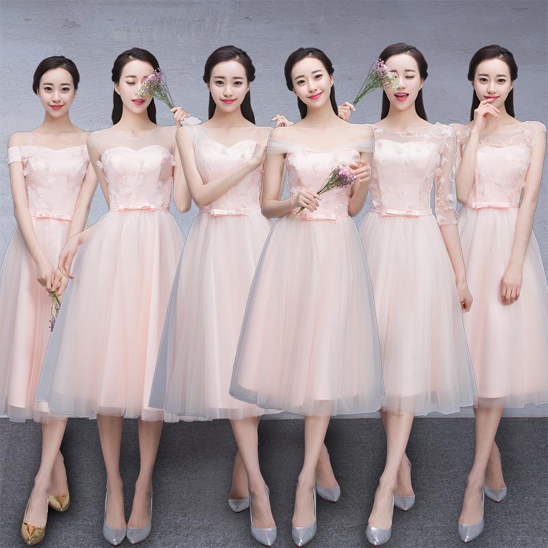 New Light Pink Bridesmaid Dresses Mission Dress Graduation Clothes Banquet Korean Sister Group Long