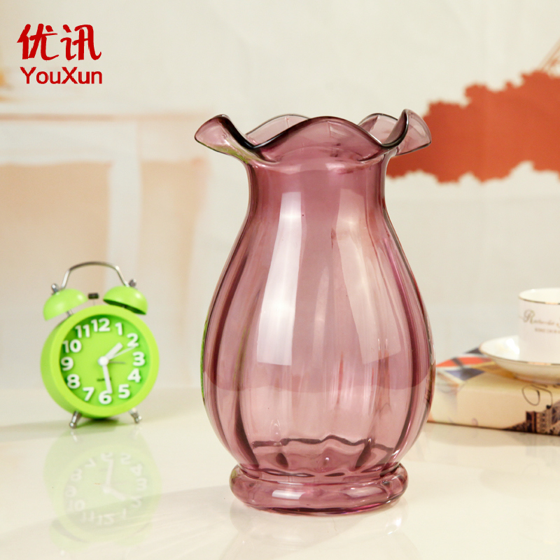 Buy European transparent glass vase creative wrought iron ornaments ...