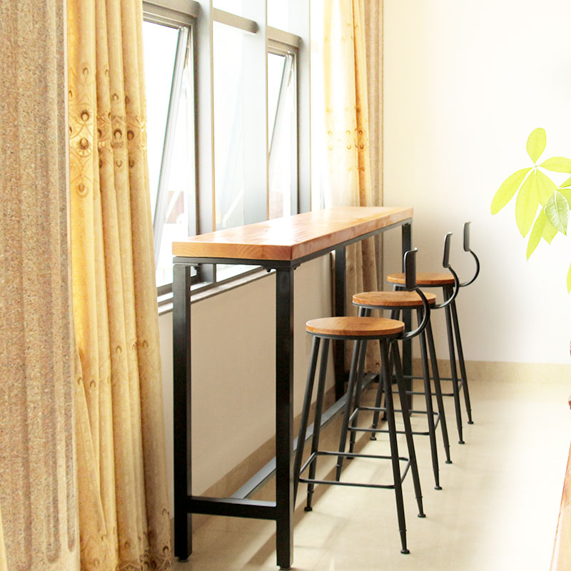 Nordic Simple Wrought Iron Wood Bar Table Against The Wall Starbucks Cafe Tables And Chairs Combination Stool Chair In Price On M Alibaba