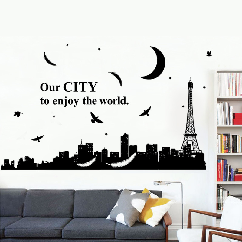 Buy Paris eiffel tower building silhouette wall stickers ...