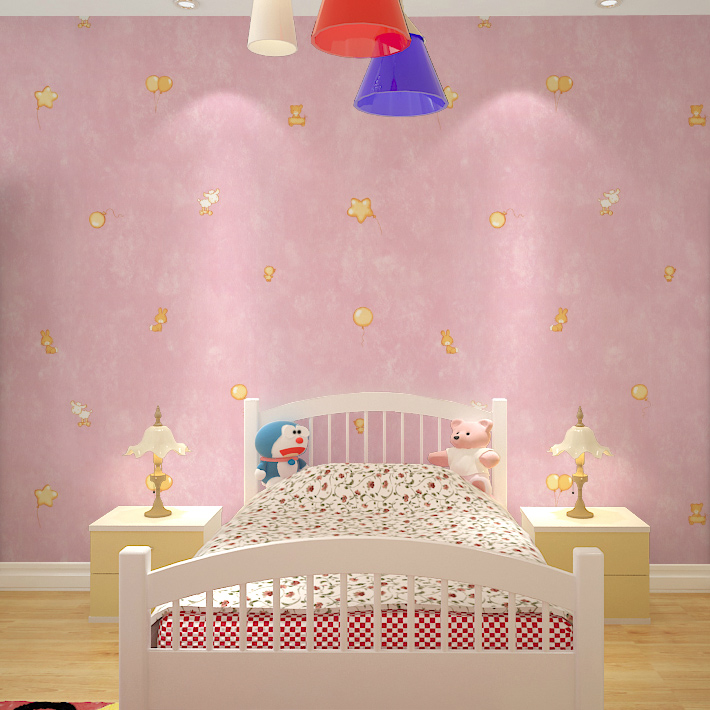 Pink Microfiber Nonwoven Wallpaper Cute Cartoon Children 39 S Room Bedroom Solid Color Paved With Painting In Price On