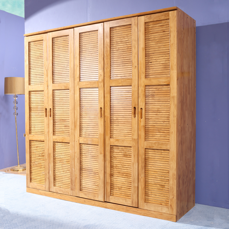 Pure Solid Wood Cedar Wardrobe Closet 5 Large Wooden Sliding Door Flat Raw Style Furniture Custom Storage Cabinets In Price
