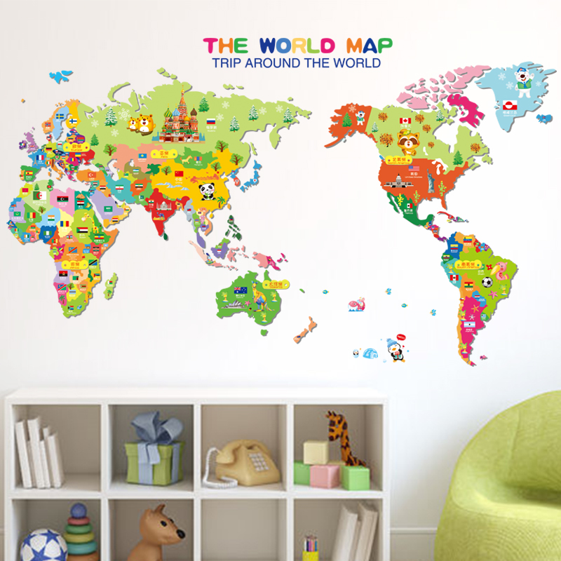 Removable wall stickers cartoon animal world map sticker home decor on glider map, statue map, inverted map, glass map, go to the map, palace map, border map, magnetic map, large map, world map, trench map, floor map, desk map, plant map, plate map, atlas map, home map, green map, englewood map, step map,