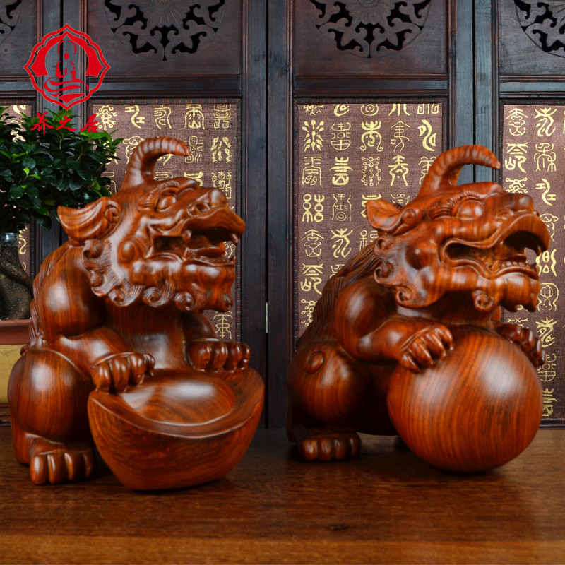 Rosewood Mahogany Wood Ornaments Brave Lucky Crafts Carving Large In Price On M Alibaba
