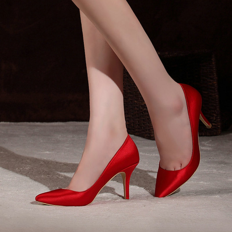 70e77ba34978 Buy Satin bridal shoes wedding shoes pointed red high heels catwalk banquet  nightclub dress shoes bridal shoes bridesmaid shoes in Cheap Price on  m.alibaba. ...
