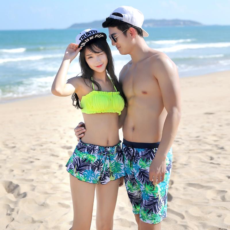 e9f043e6be9fe Sherman couple swimsuit female split skirts denim bikini steel prop gather  paul shou swimsuit male beach pants. CN 170.0 Yuan. Sherman sand set  fashion for ...