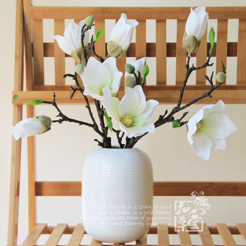 Buy Simulation Magnolia Brachylast Suit Ceramic Vases Artificial Flowers  Artificial Flowers Floral Decoration Flower Home Office Cottage In Cheap  Price On ...