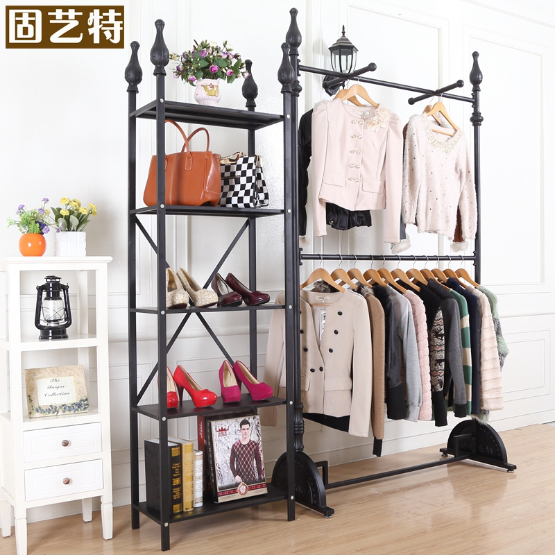 Solid Special Arts Double Wrought Iron Clothing Rack Shelf Display Floor In Price On M Alibaba