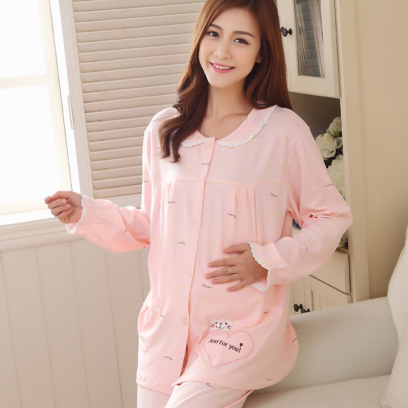 937555f49e Buy Spring and autumn cotton long sleeve maternity dress breastfeeding  postpartum month of breastfeeding clothes clothing cotton pajamas maternity  clothes ...