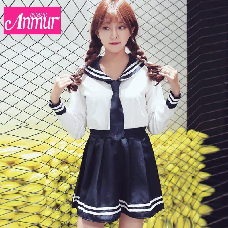 281ec0b20 Buy Spring new korean version of high school students cute girl navy wind  tie dress uniforms school uniforms sailor suit school uniform skirt in  Cheap Price ...