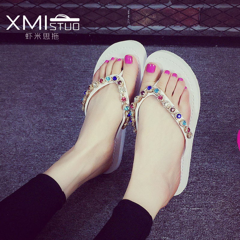 72670f5d8 Buy Summer new fashion rhinestone sandals women slip flat flip flops sandals  korean version of outer wear cute sandals and slippers in Cheap Price on ...
