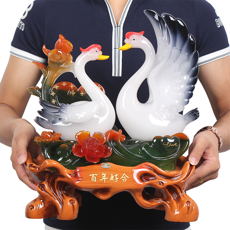 Gift for marriage wedding ideas swan ornaments home living room tv cabinet creative marriage negle Choice Image
