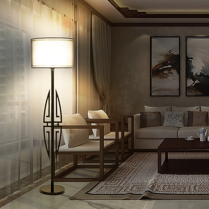 The New Chinese Modern Wrought Iron Floor Lamp Hotel Bedroom Living Room Creative Restaurant Retro