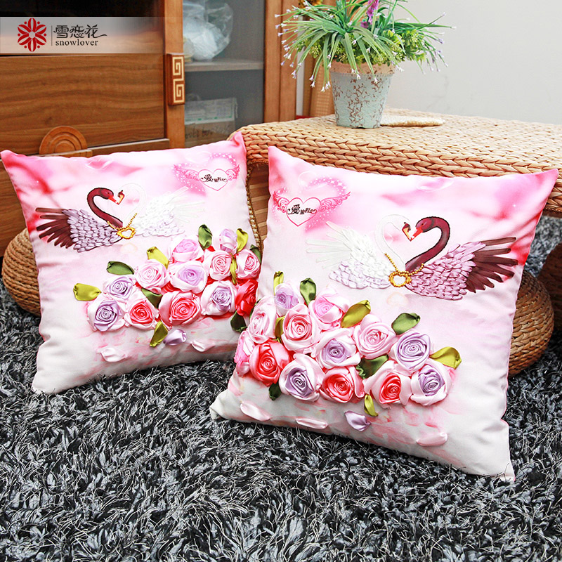 Buy The new ribbon embroidery children's cartoon pillow cover ...