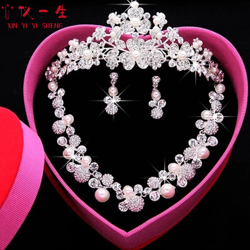Three Sets Of Bridal Jewelry New Mother Pearl Accessories Wedding Tiara Crown Necklace Earring Chain In Price On