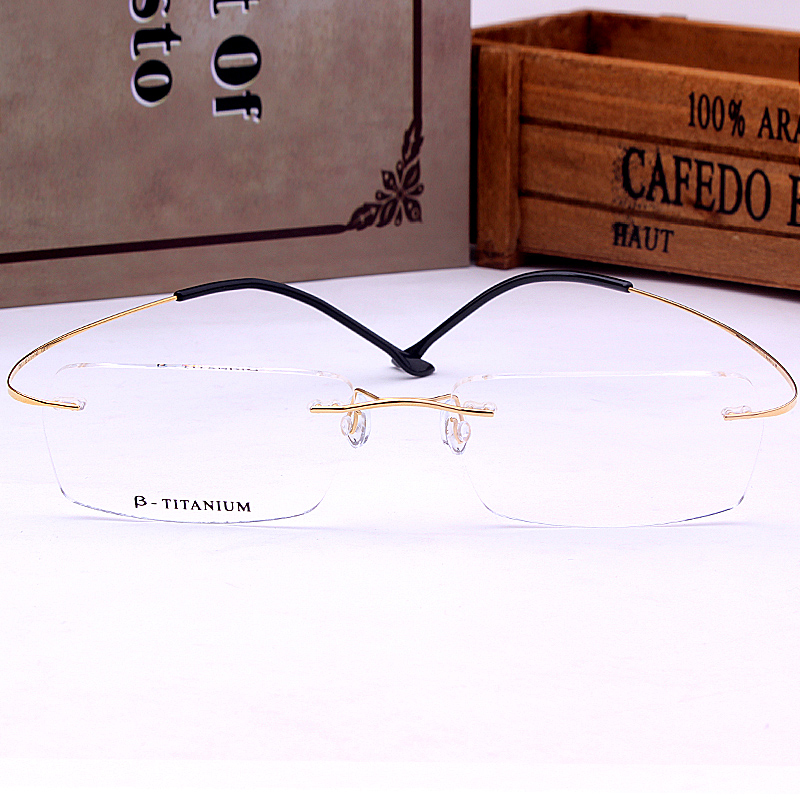 4bc566ae4700 Buy Titanium rimless glasses frame finished myopia glasses frames for men  and women big box little face trimming glasses with the degree of in Cheap  Price ...