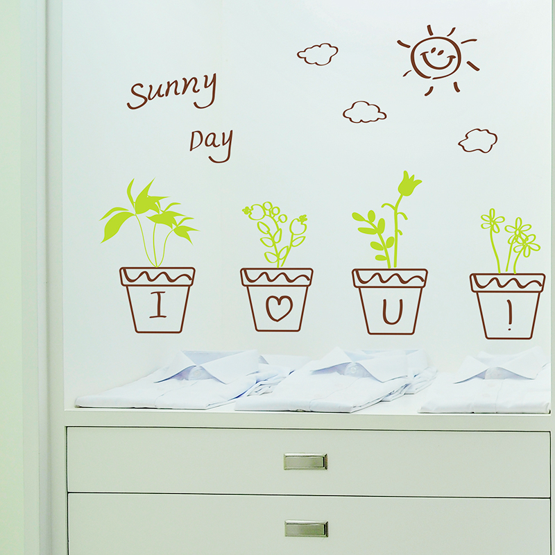 Buy Wall Stickers Wall Sticker Living Room Potted Green Plants