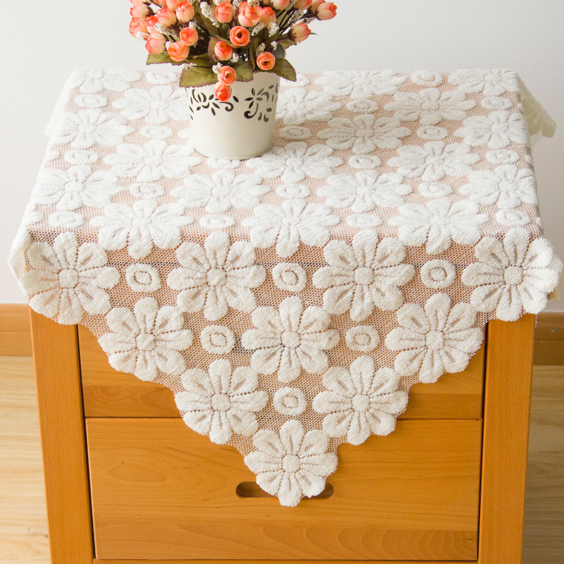 Buy White Lace Tablecloth Fabric Cover Refrigerator ...